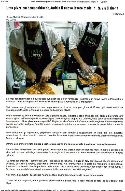 Uma pizza em companhia: da Andria il nuovo lavoro Made in Italy a Lisbona